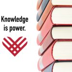 "Stack of books with words ""Knowledge is power"" and the #GivingTuesday heart logo"
