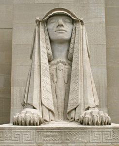 The Sphinx of Wisdom, with its eyes closed, is one of two giant limestone figures that flank the front entrance to the House of the Temple in Washington, DC.