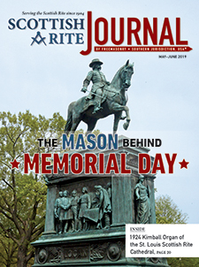 """Cover of the May-June 2019 Scottish Rite Journal – """"The Mason behind Memorial Day"""" with a photograph of Major General John A. Logan's statue in Logan Circle, NW, Washington, DC"""