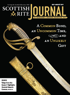 "Cover of the July-August 2019 Scottish Rite Journal – Text: ""A Common Bond, and Uncommon Time, and an Unlikely Gift"" Photo: A ceremonial sword presented to Brig Gen Albert Pike, CSA by Benjamin B. French."