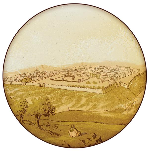 Antique glass slide depicting a view of Jerusalem