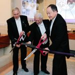 "Cutting the ribbon to the GWMNM's new museum display on the Scottish Rite are (l. to r.): Ill. David A. Glattly, 33°, Sovereign Grand Commander of the Northern Masonic Jurisdiction; Ill. J.F. ""Jeff "" Webb, 33°, President of the GWMNM Association; and Ill. James D. Cole, 33°, Sovereign Grand Commander of the Southern Jurisdiction. (Photography: Nat Wongsaroj)"
