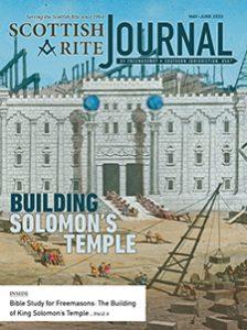 May-June 2020 Scottish Rite Journal Cover - Building Solomon's Temple - Glass stereopticon slide, depicting the building of King Solomon's Temple