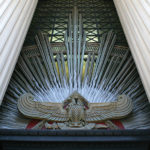 Detail of the exterior of the west Temple Room window featuring a Scottish Rite Double-headed Eagle
