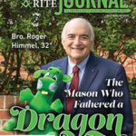 "Bro. Roger Himmel holding a dragon plush toy; ""Bro. Roger Himmel, 32°, The Mason who Fathered a Dragon"""