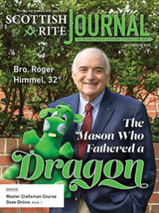 "Bro. Roger Himmel holding a dragon plush toy; ""Bro. Roger Himmel, 32°, The Mason who Fathered a Dragon"""