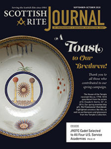 A Toast to Our Brethren! Thank you to all those who contributed to our spring campaign. The House of the Temple received this ca. 1790–1810 punchbowl from the estate of Ill. Claude H. Harris, 33°, in 2016. Our spring membership gift, The Freemasons' Punchbowl, highlighted ceramics like this, as well as earthenware and glassware from the Temple's collection.