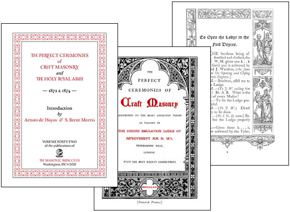 Three sample pages from Perfect Ceremonies of Craft Masonry and the Holy Royal Arch