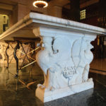 """Marble Table in the House of the Temple's Atrium with the Latin Inscription """"Salve Frater"""" (Welcome, Brother)"""